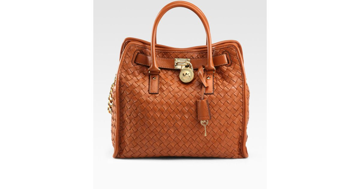 lyst michael michael kors hamilton woven leather tote in brown rh lyst com