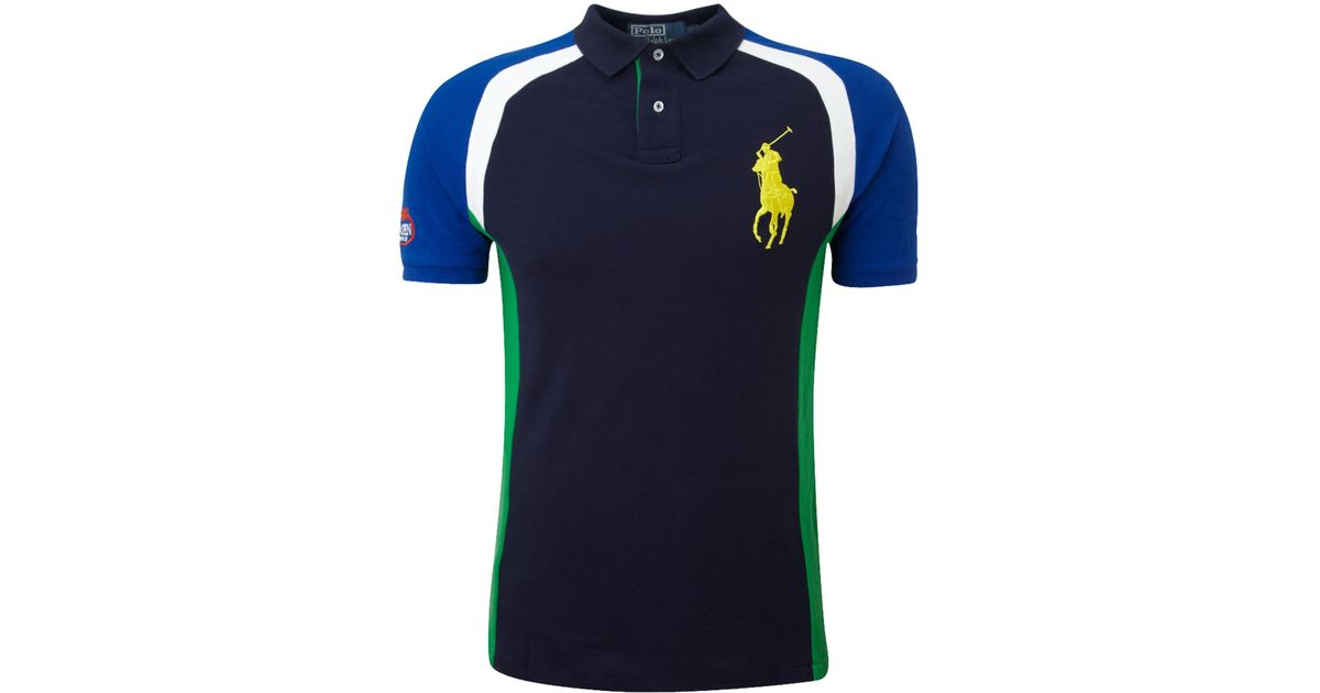 Polo ralph lauren Us Open Big Pony Back Printed Polo Shirt in Blue for Men | Lyst