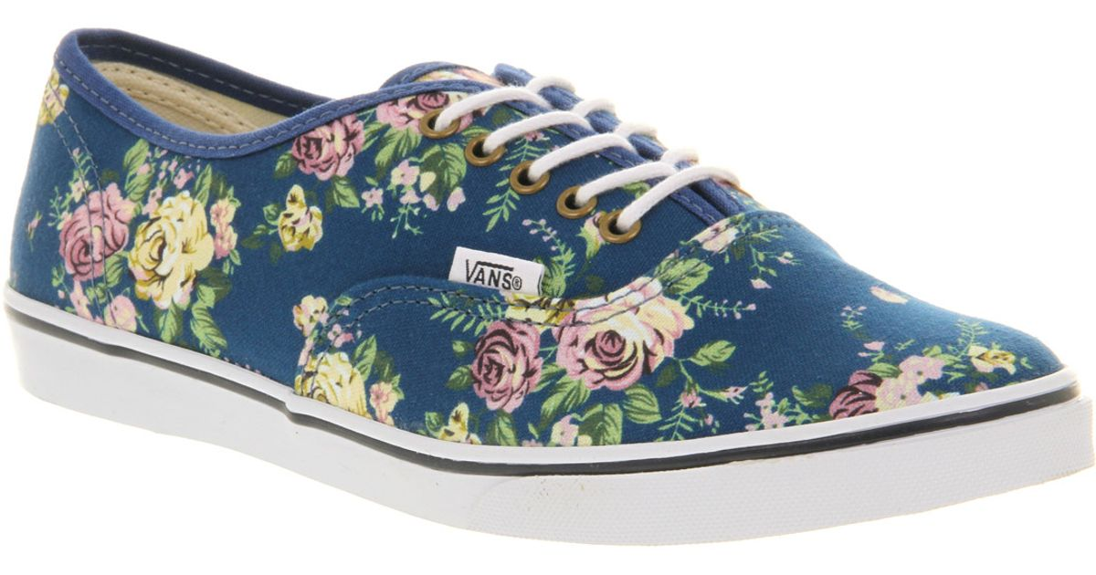 Lyst - Vans Authentic Lo Pro Floral Blue True White in Blue for Men 27853bb6bbec