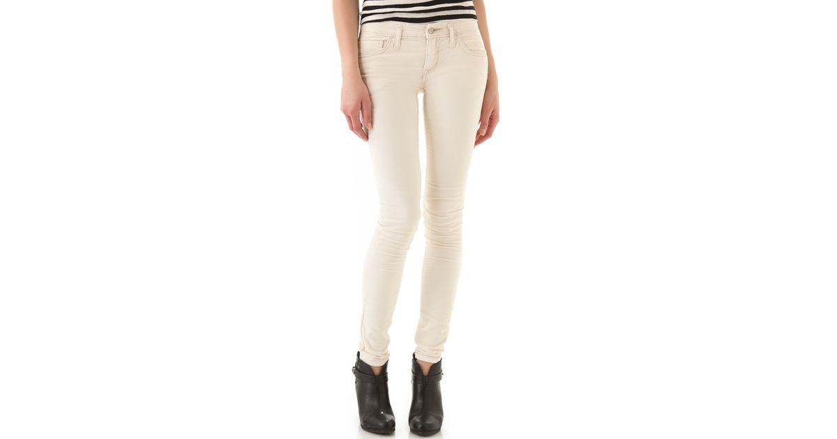 Free people Skinny Corduroy Pants in White | Lyst