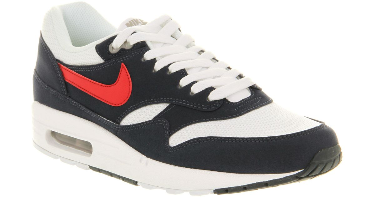 Lyst - Nike Air Max 1 Navy White Red in Blue for Men 995cd128a84f
