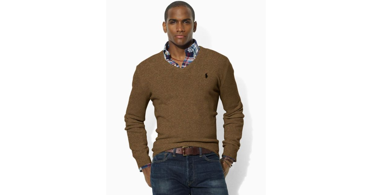 Ralph lauren Lambswool V Neck Sweater in Brown for Men   Lyst