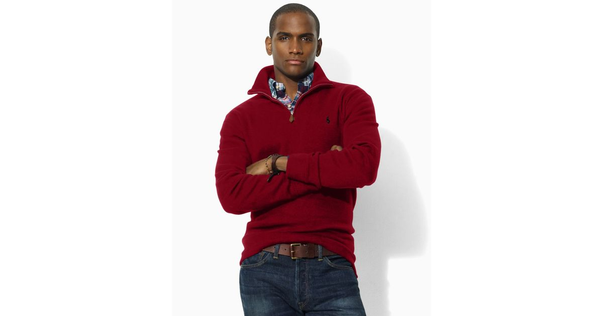 Ralph lauren Polo Fleece Half Zip Sweater in Red for Men (jewel red) | Lyst