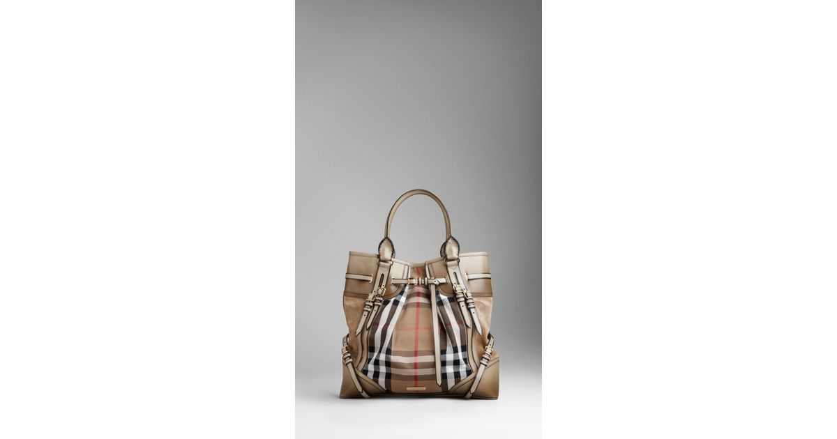 d94baa9ed0f3 Burberry Large Bridle House Check Whipstitch Tote Bag in Gray - Lyst