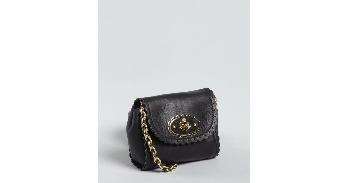 58ed65985c ... ebay lyst mulberry black leather mini lily chain shoulder bag in green  52f6e 975ac