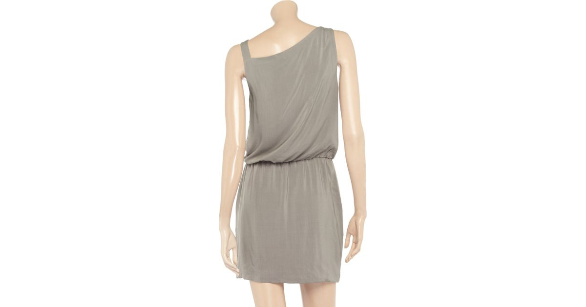 720fae9c6af Theory Jaylyn Draped Crepe Dress in Gray - Lyst
