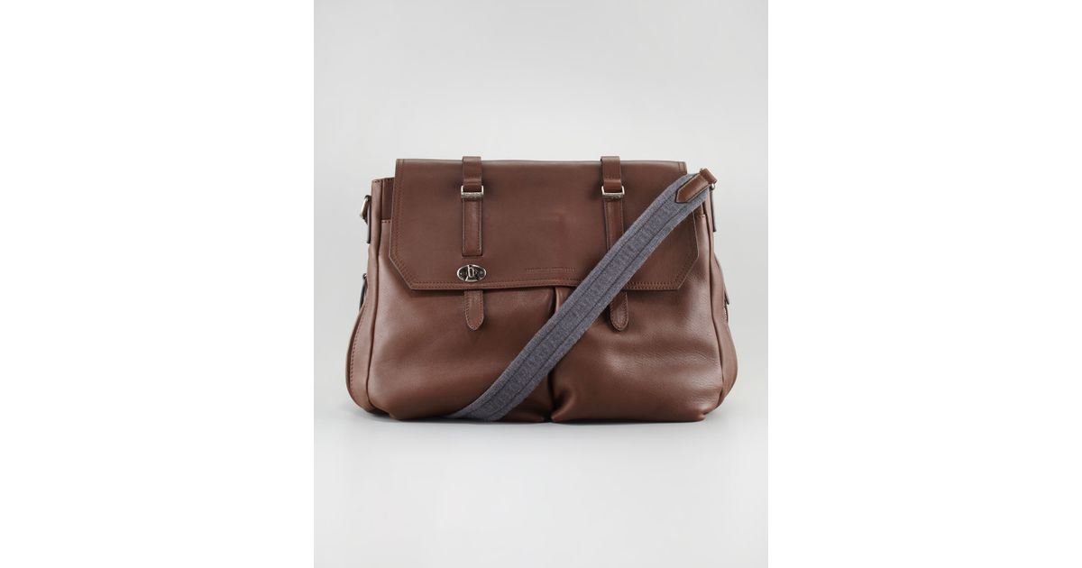 Lyst - Brunello Cucinelli Contraststrap Leather Messenger Bag in Brown for  Men a731b6c14f