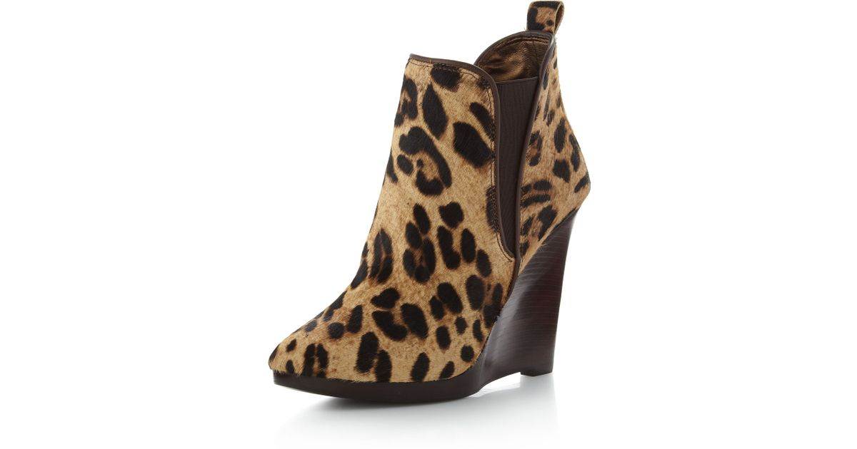 53da84df89dc Lyst - Pelle Moda Nell Leopard Print Wedge Boot