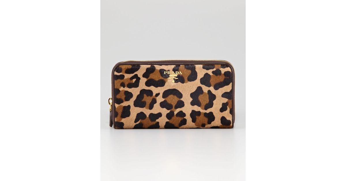 Prada Leopardprint Calf Hair Wallet in Beige (miele moro l)   Lyst