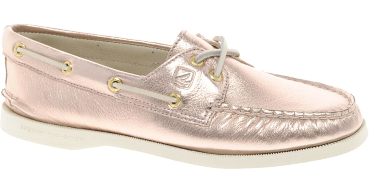 2e822b0a7e9c Lyst - Sperry Top-Sider Ao 2eye Metallic Boat Shoes in Pink