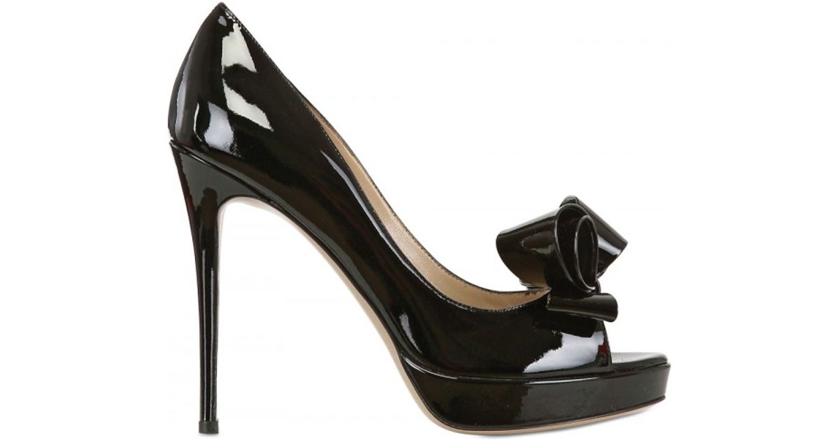 263611f3385 Lyst - Valentino 120mm Patent Bow Open Toe Pumps in Black