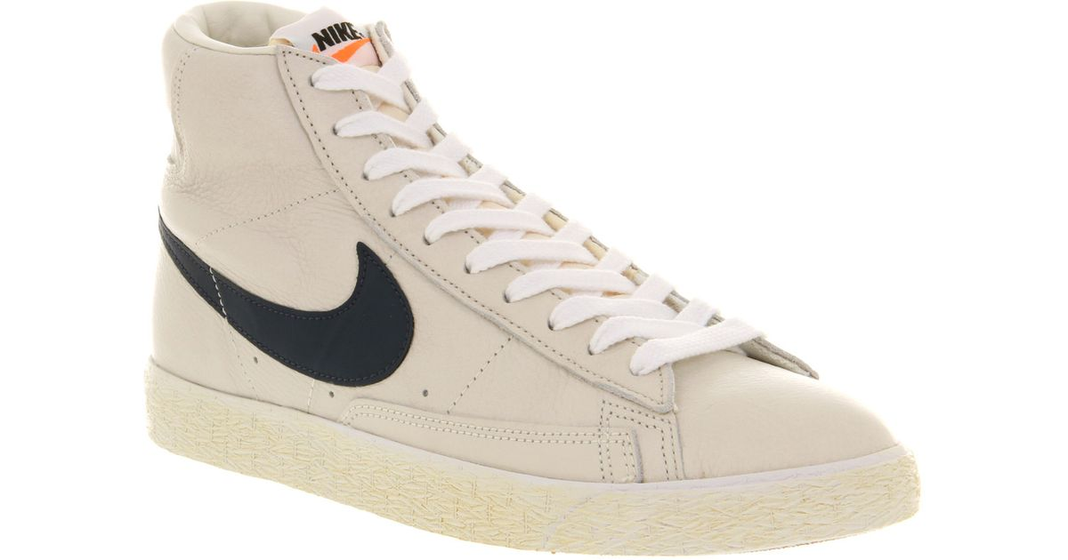 2d4f348eda34 ... shoes a79ee 60655  low price lyst nike blazer mid vintage leather sail  mid navy white gm mid brown in