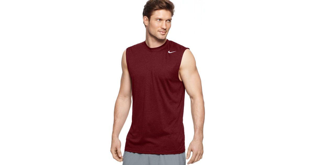 c474b33adaf331 Lyst - Nike Legend Drifit Sleeveless Crew in Red for Men