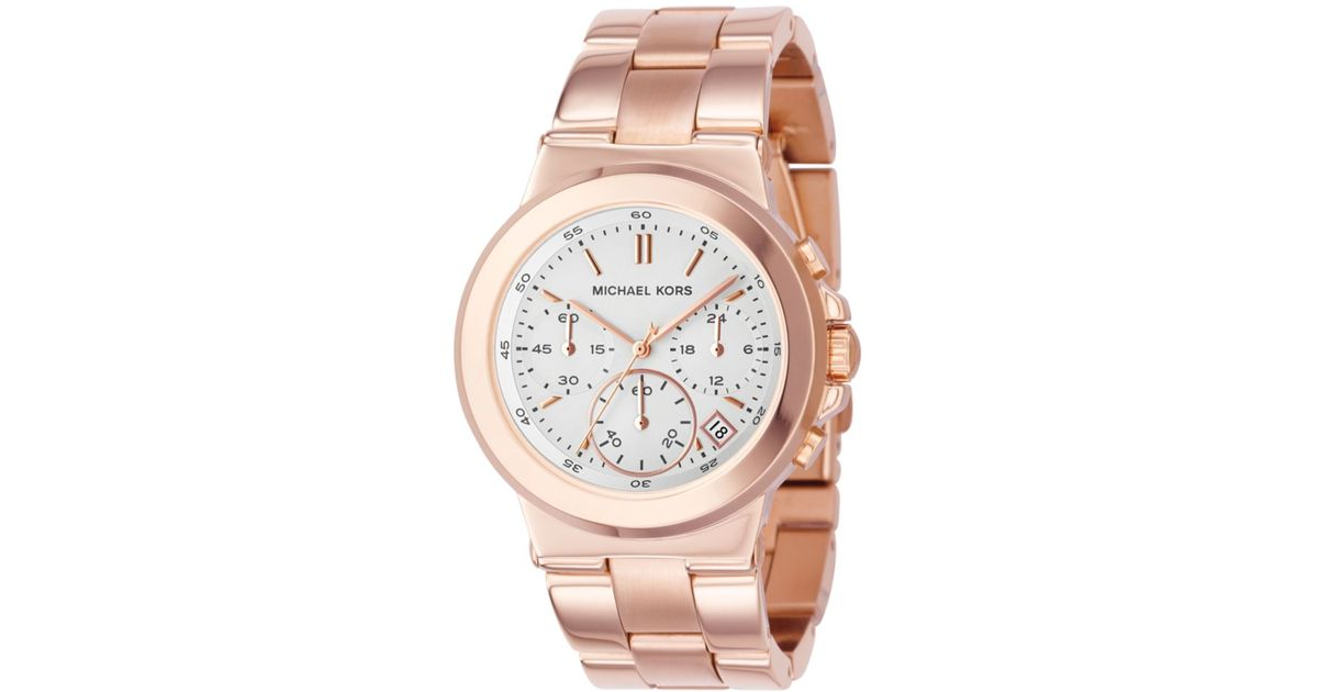e2b7822e46c7 Lyst - Michael Kors Chronograph Dylan Rose Gold Tone Stainless Steel  Bracelet Watch in Pink