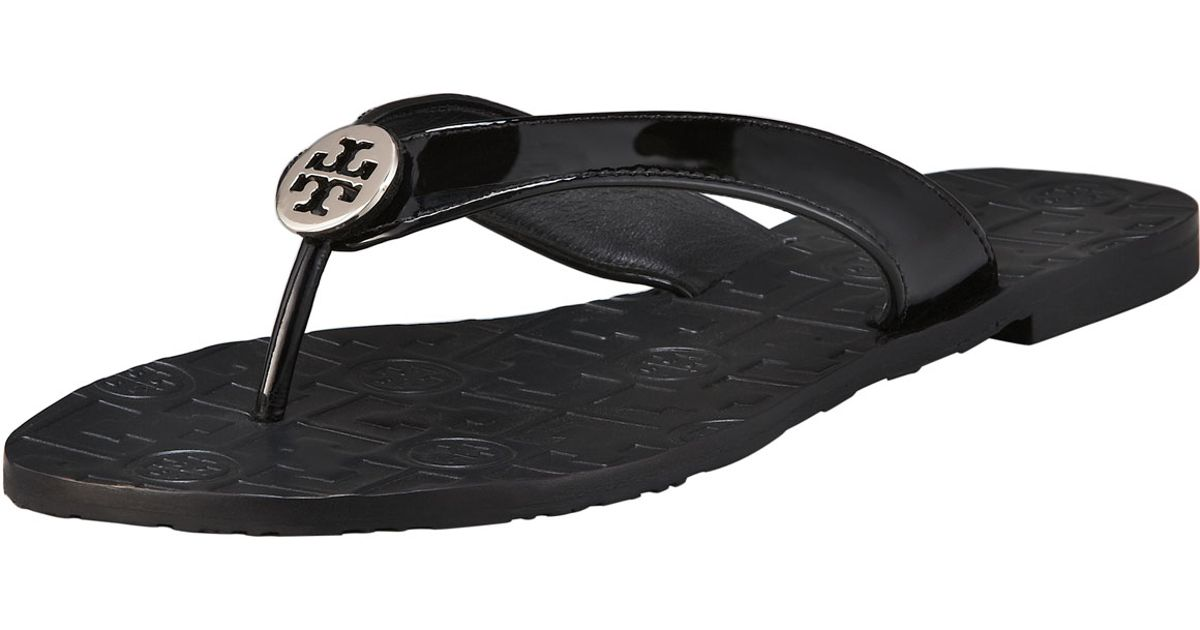 76c51ab3b238 ... ireland tory burch thora patent leather thong sandal in black lyst  0f95a 60535