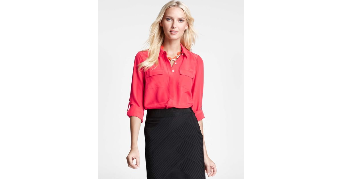 1614c0f4262f5 Lyst - Ann Taylor Petite Silk Camp Shirt in Red