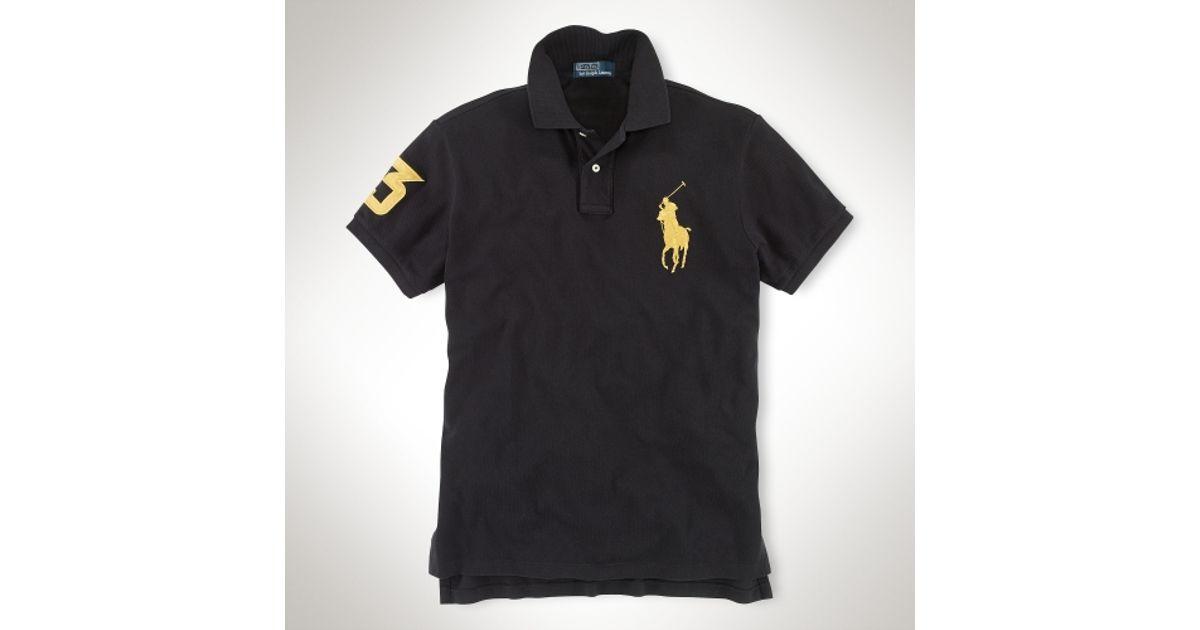 3054a1bd79f ... shop lyst polo ralph lauren customfit big pony polo in black for men  c734e 2469c