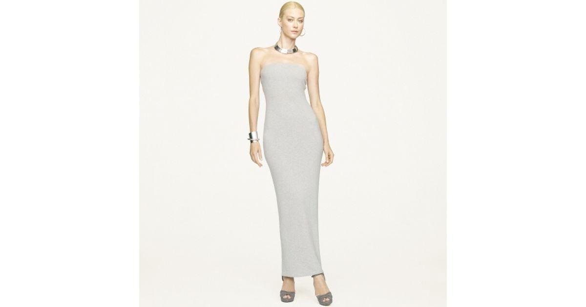 Lyst - Ralph Lauren Black Label Long Strapless Cashmere Dress in Gray