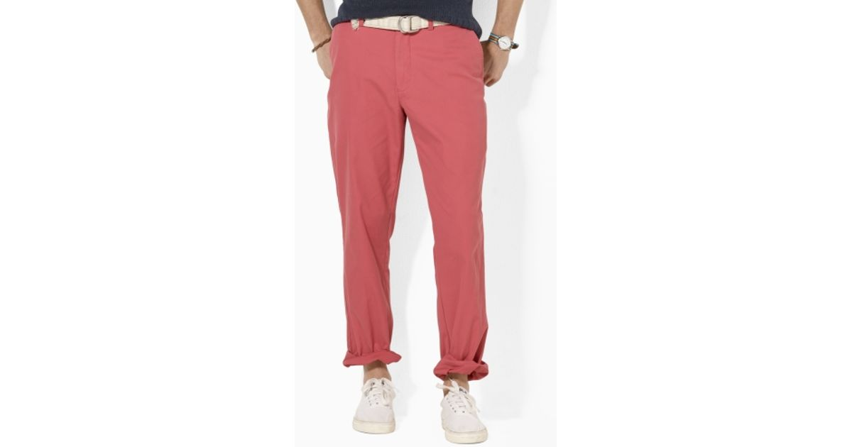 c07d8109c Lyst - Polo Ralph Lauren Preston Tissue Chino Trousers in Red for Men