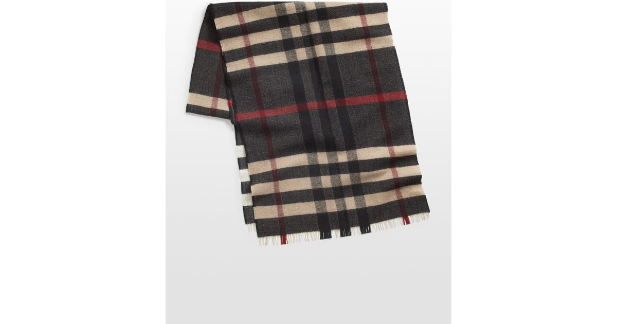 71678bc9601 Lyst - Burberry Reversible Check Wool Scarf in Black for Men