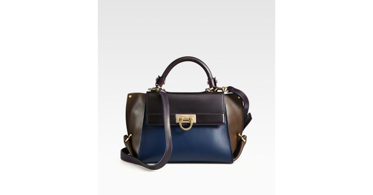 Lyst - Ferragamo Sofia Colorblock Leather Satchel in Blue f9fa0de757164