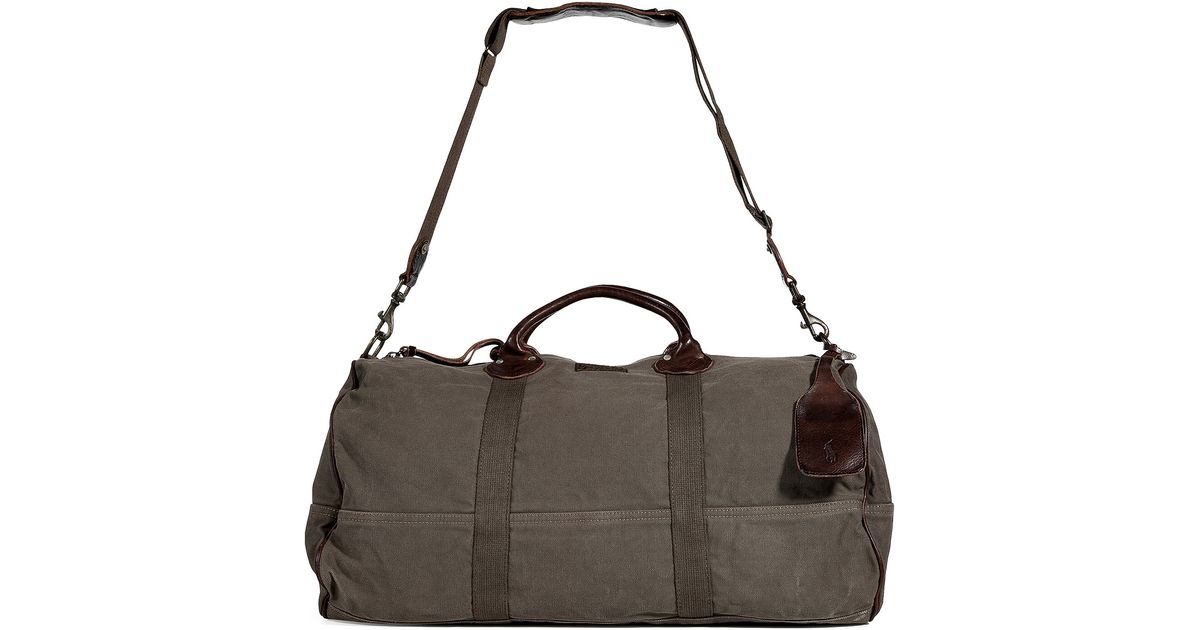 bd48c8e4225a Lyst - Polo Ralph Lauren Olive Canvas Barrell Duffle Bag in Green for Men