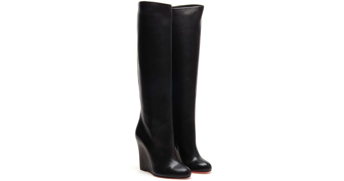 96ba6b52c96 Christian Louboutin Zepita Tall Leather Wedged Boots in Black - Lyst