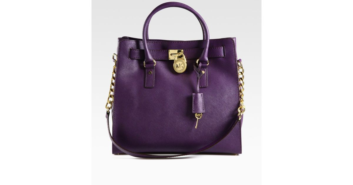 Lyst - MICHAEL Michael Kors Hamilton Large Northtosouth Tote Bag in Purple a1c1fbee4793e