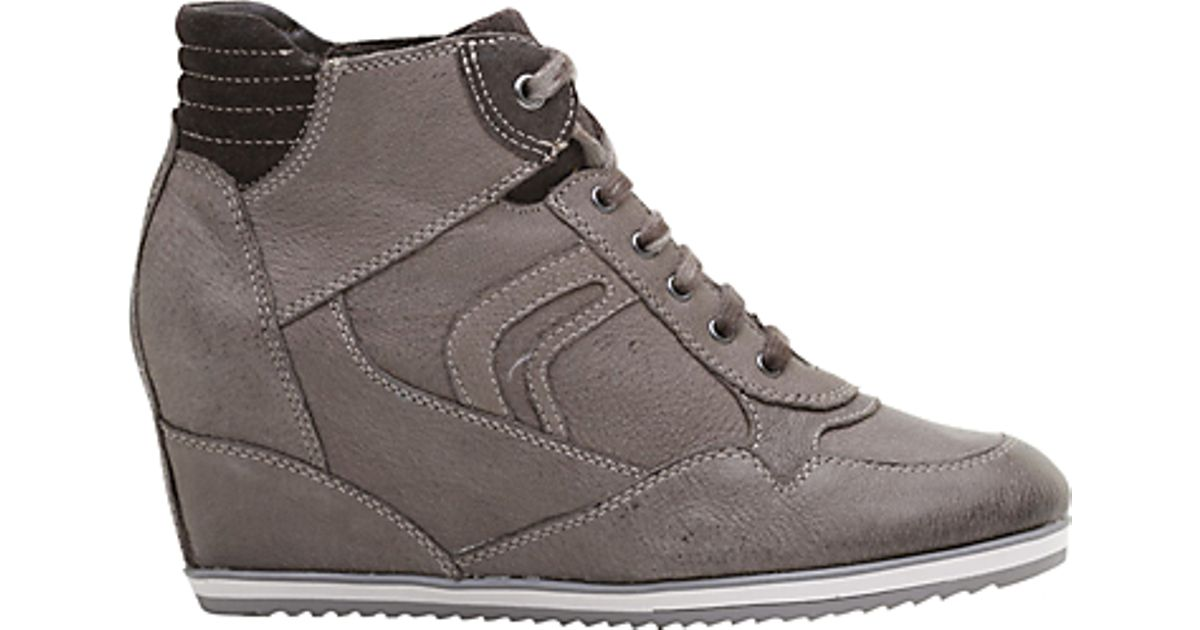 305ce51139 Geox Geox Illusion Hidden Wedge Leather Trainers Dark Taupe in Brown - Lyst