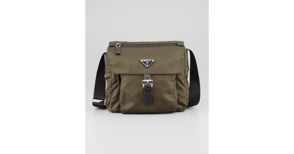 f836f919c21a Prada Vela Nylon Messenger Bag Olive in Brown - Lyst