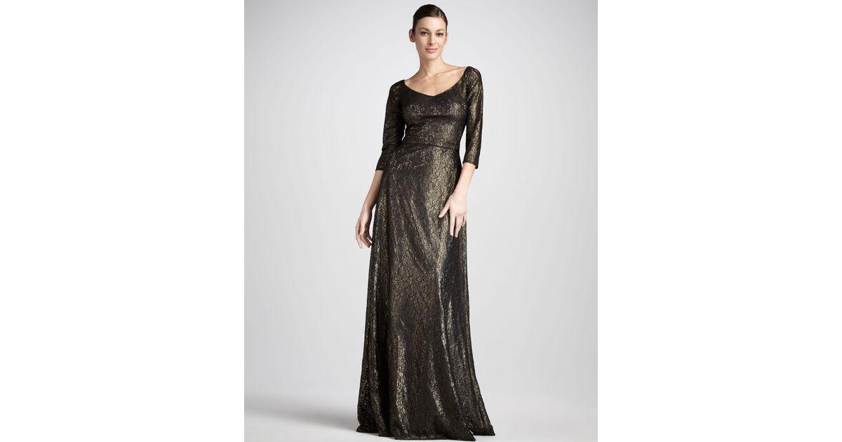 David Meister Gold Metallic Evening Gowns – Fashion dresses