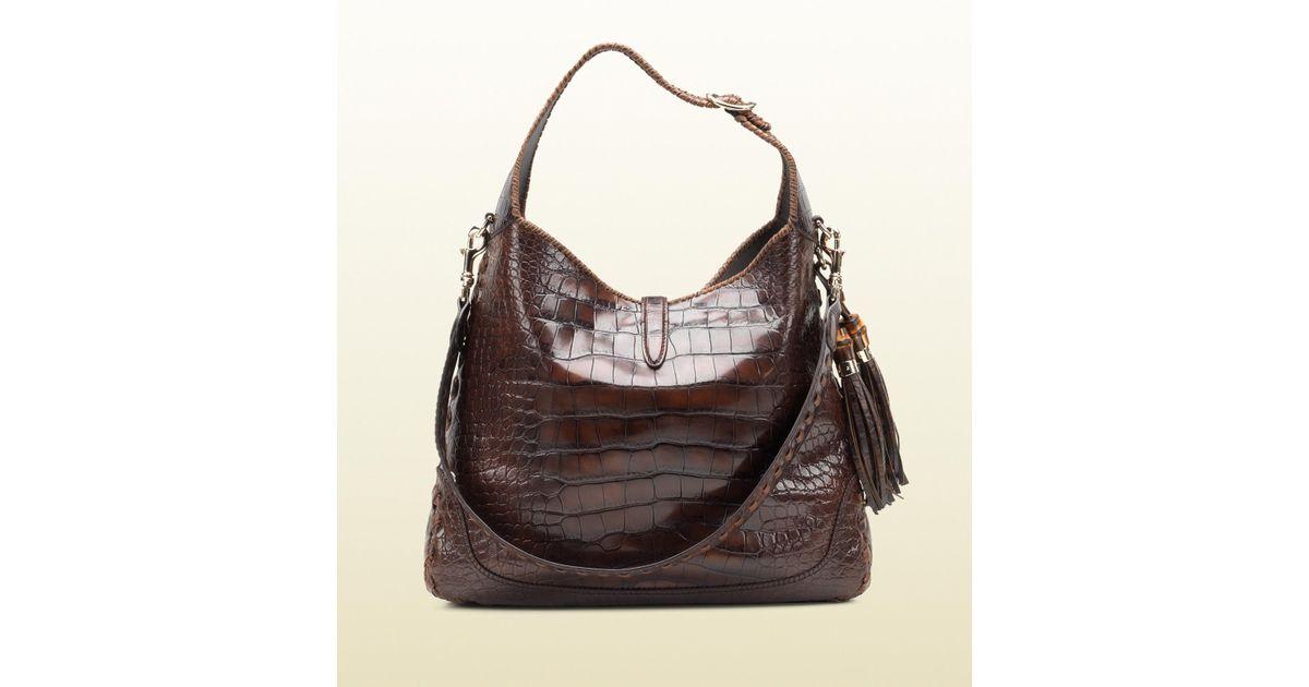 9b76eb2e06b Lyst - Gucci New Jackie Crocodile Shoulder Bag in Brown