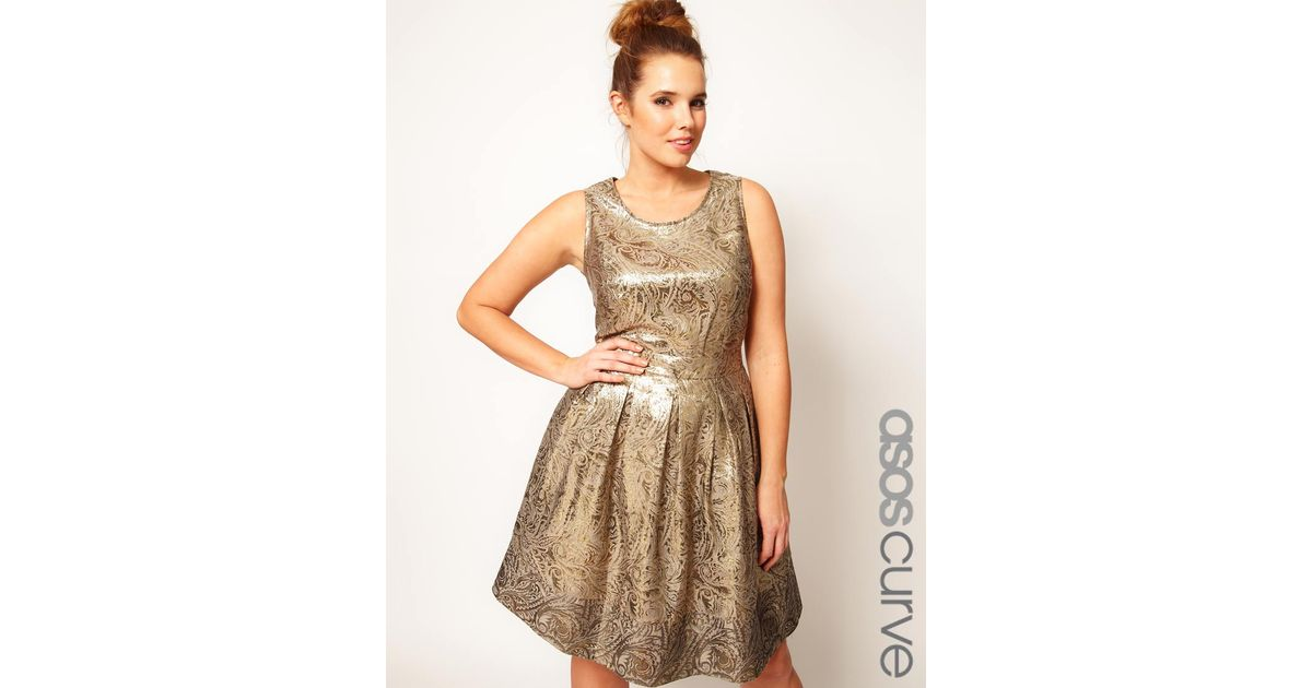 Lyst Asos Dolly Skater Dress In Gold Brocade In Metallic