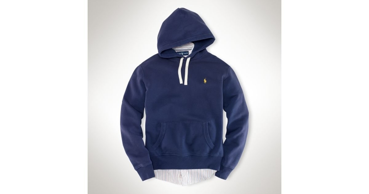 Polo ralph lauren Fleece Pullover Hoodie in Blue for Men | Lyst