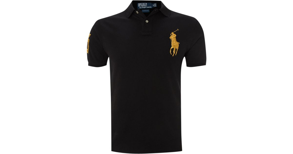 Polo ralph lauren Custom Fitted Gold Big Pony Polo Shirt in Black for Men |  Lyst
