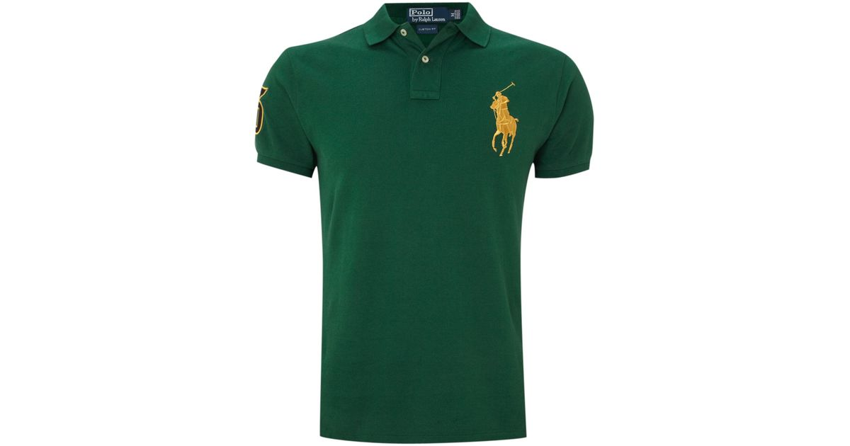 Polo ralph lauren Custom Fitted Gold Big Pony Polo Shirt in Green for Men | Lyst
