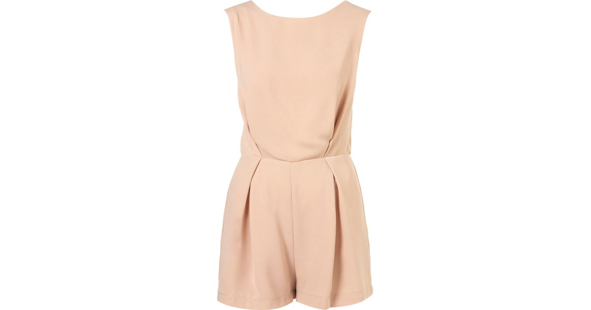 37db51f9d31 TOPSHOP Lace Back Playsuit in Pink - Lyst