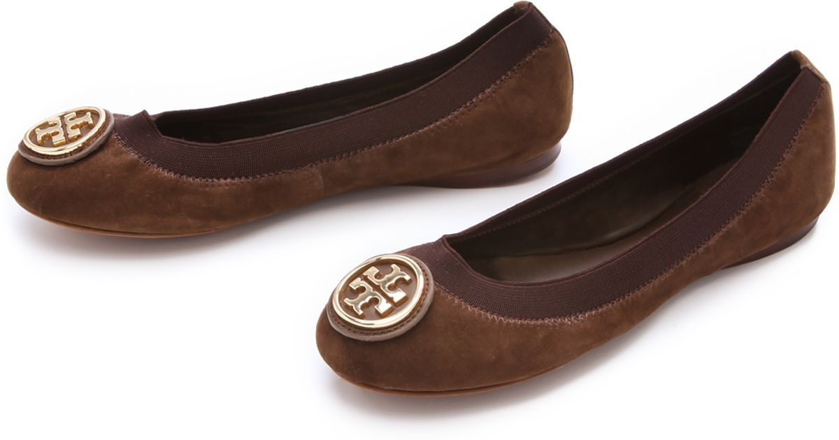 825d6c241820 Lyst - Tory Burch Caroline Suede Ballet Flats in Brown