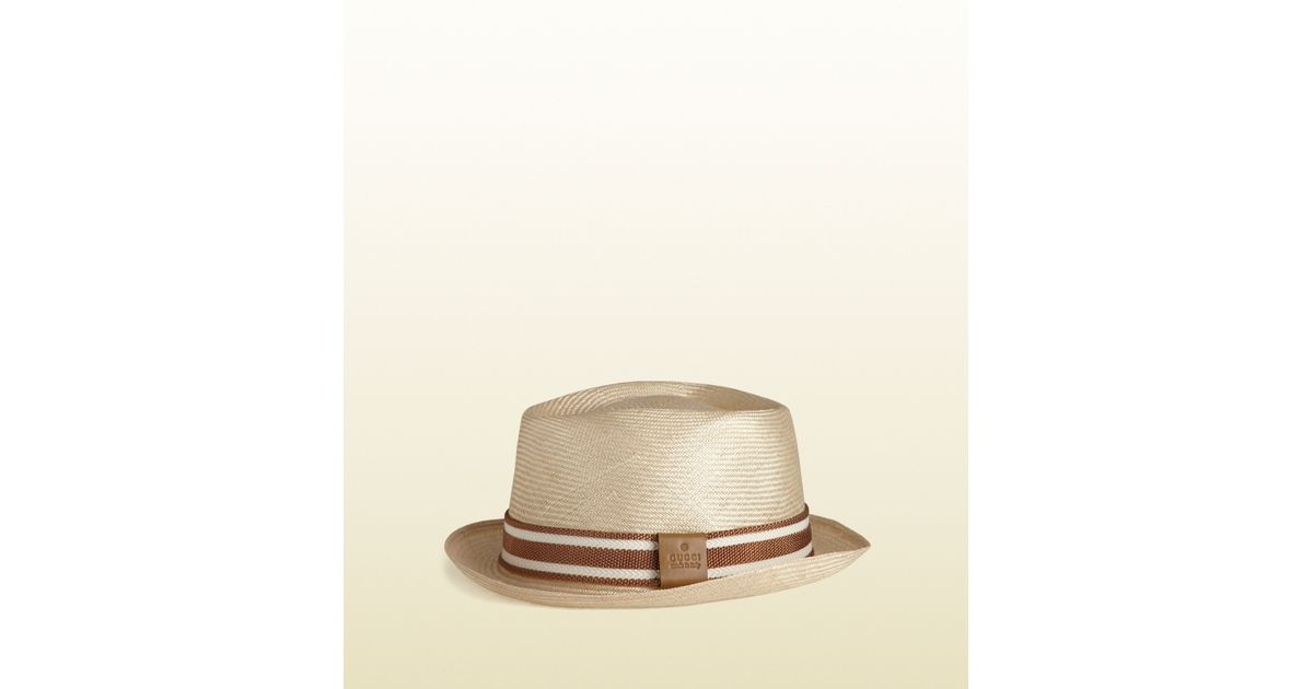 9f6978eaedf98a Gucci Trilby Hat with Embossed Gucci Trademark in Natural for Men - Lyst