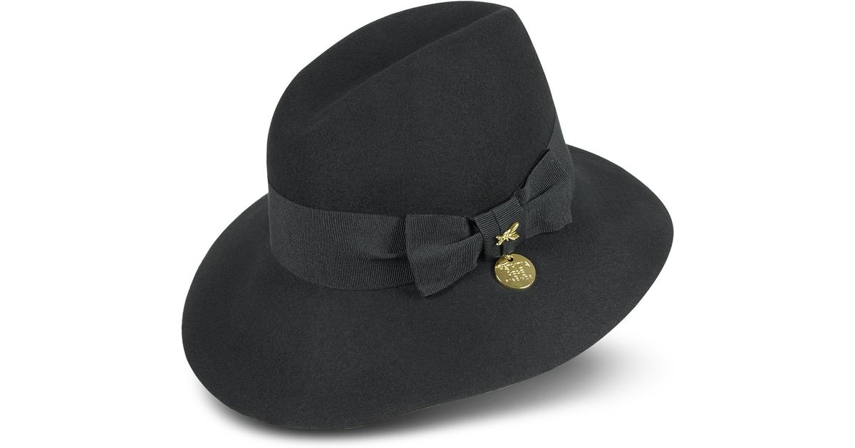 Lyst - Patrizia Pepe Womens Wool Hat with Grosgrain Bow in Black 2fe228e6ff4