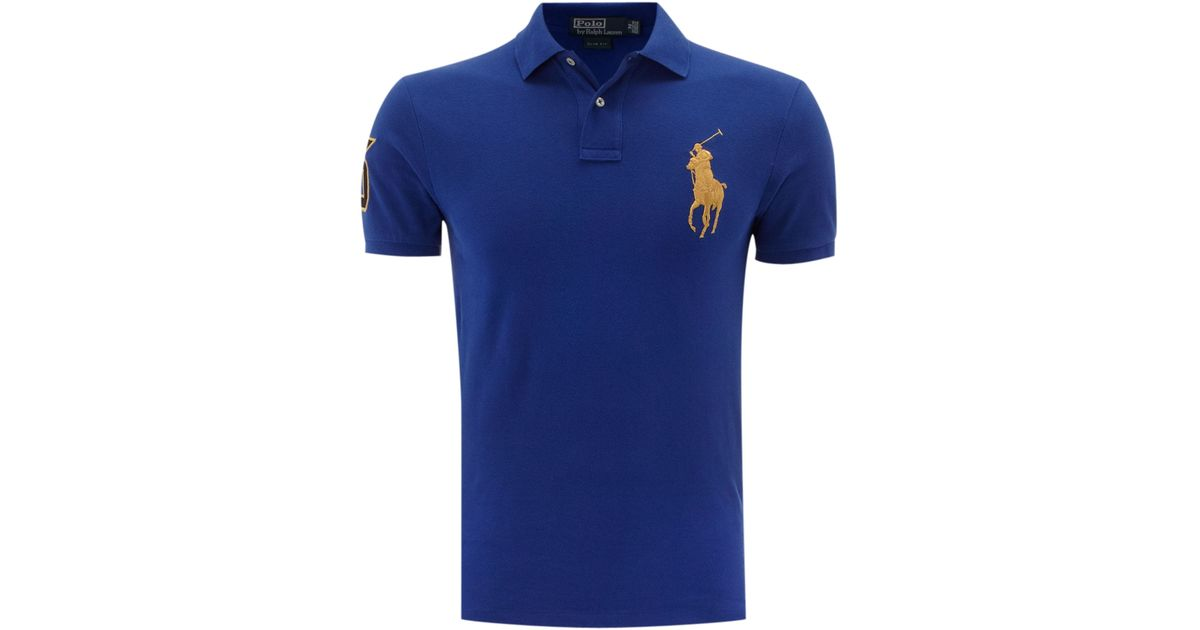 18341c84193 ... mens slim custom fit big 1ce44 12220 release date lyst polo ralph lauren  slim fitted gold big pony polo shirt in blue for ...