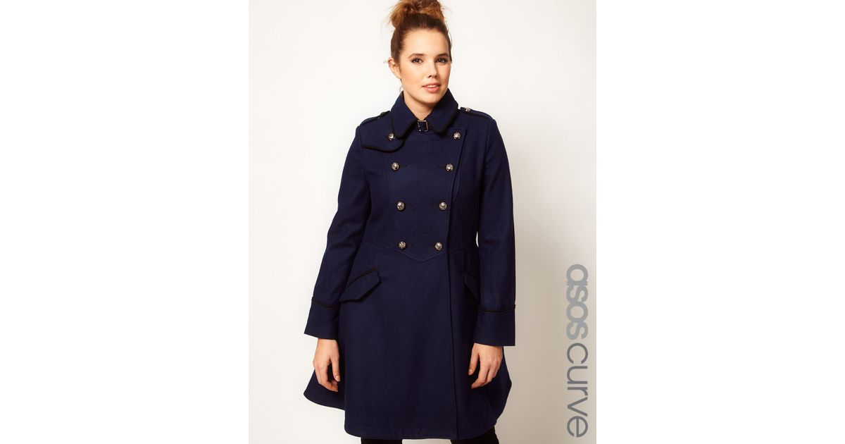 fed3c38c0c7db Lyst - ASOS Military Fit and Flare Coat in Blue