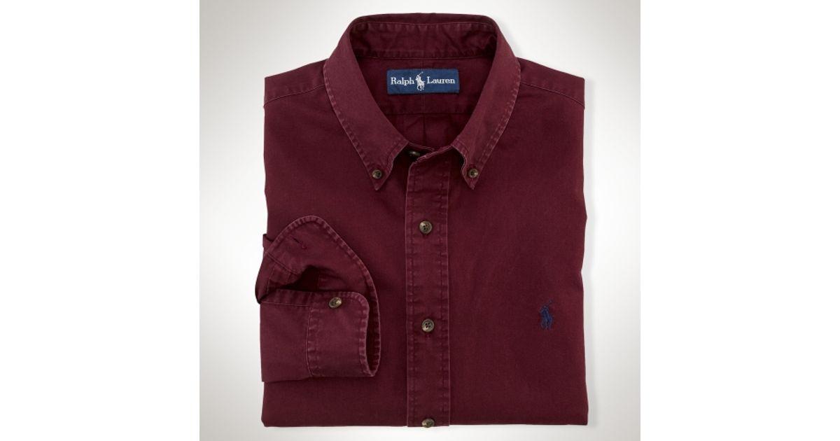 43b1e62ba490 Lyst - Polo Ralph Lauren Customfit Chino Shirt in Red for Men