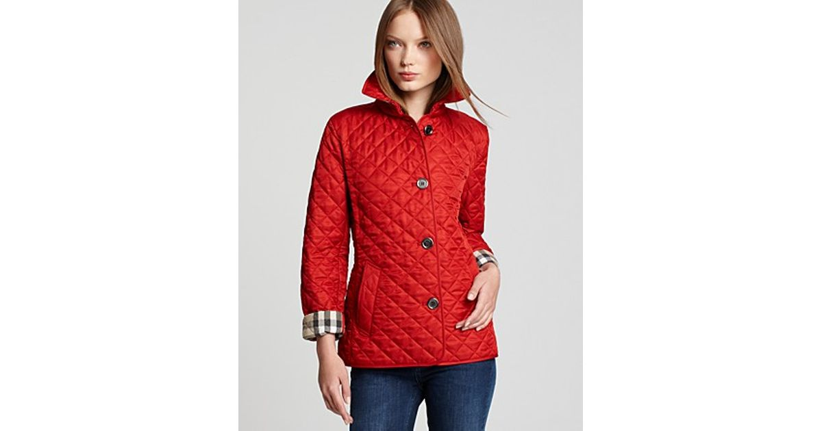 Burberry Brit Quilted Jacket in Purple | Lyst : red burberry quilted jacket - Adamdwight.com