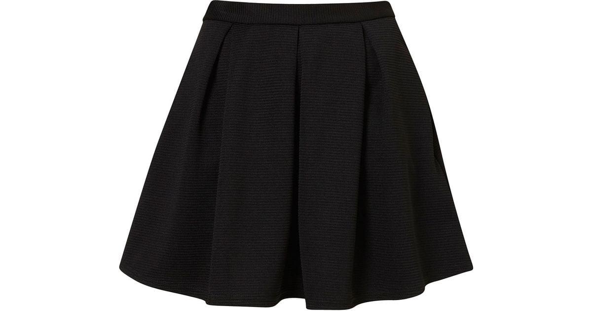 196ec546d4 TOPSHOP Black Ribbed Pleated Skirt in Black - Lyst