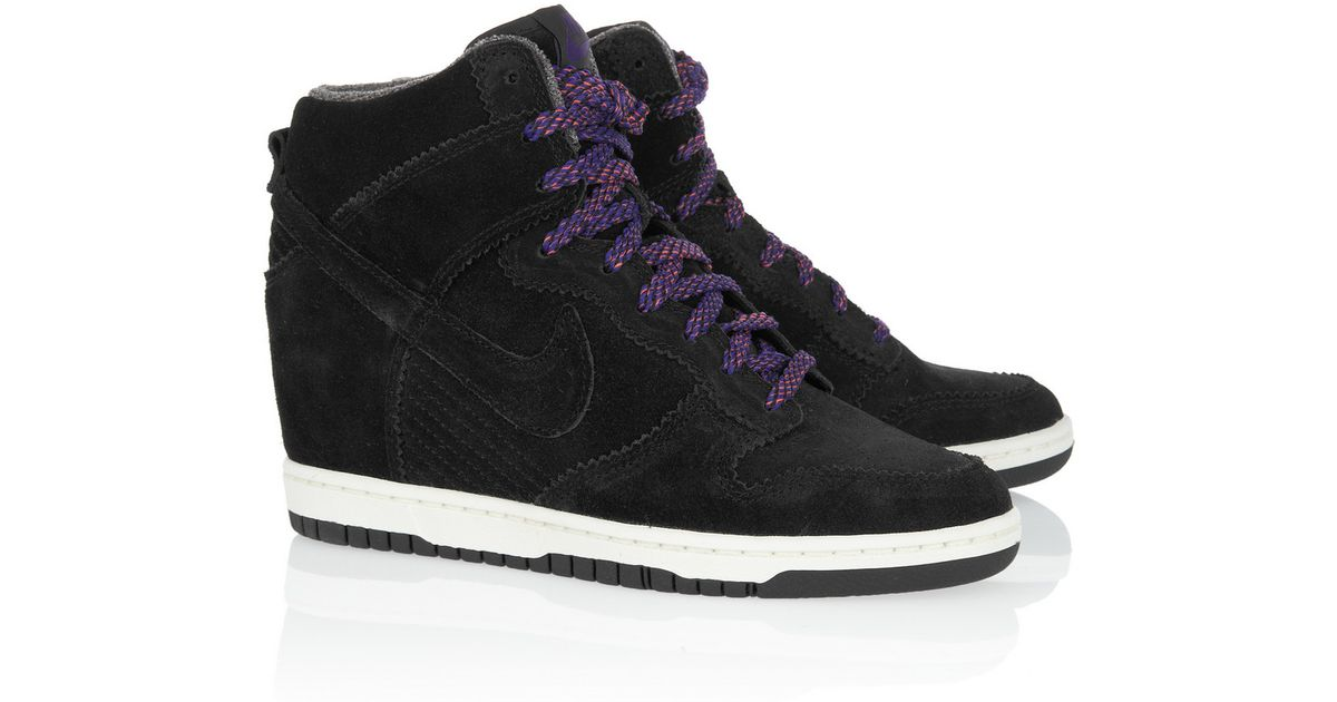 hot sale online 9791e 34df3 ... authentic lyst nike dunk sky hi suede wedge sneakers in black 7fd0b  27864