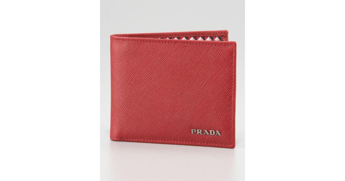 pink prada bags - Prada Saffiano Bifold Wallet Red in Red for Men   Lyst