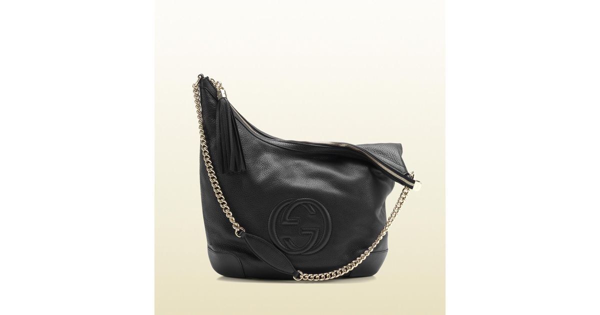 f18a3f145542 Gucci Soho Black Leather Shoulder Bag with Chain Strap in Black - Lyst