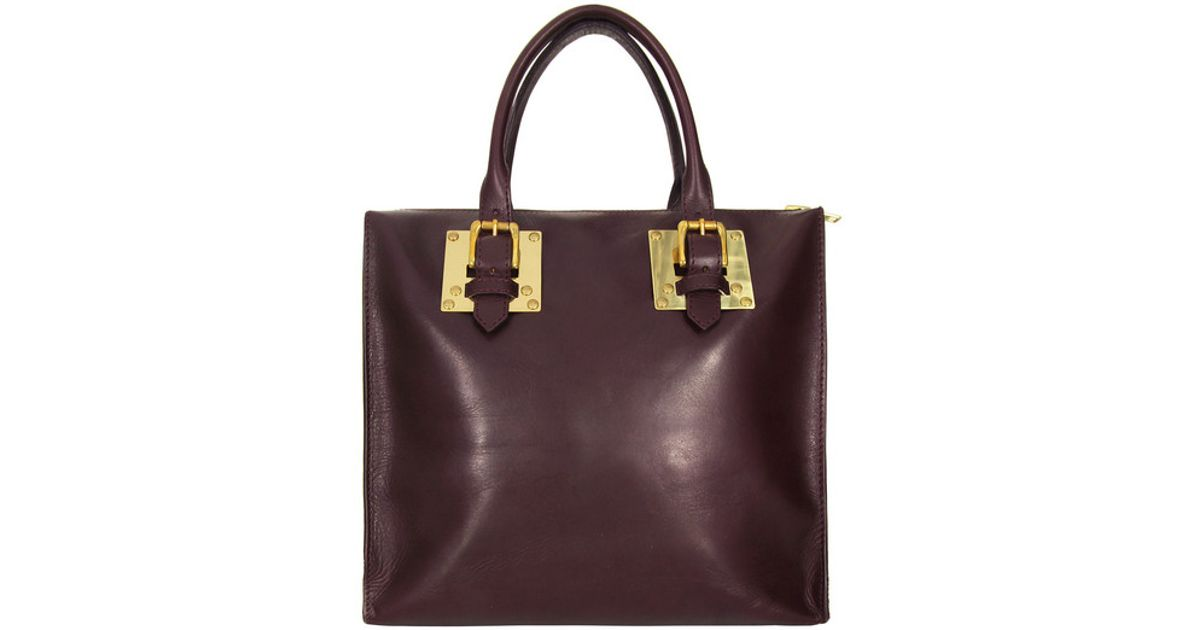 Sophie Hulme Burgundy Square Buckle Tote Bag in Brown - Lyst 026c300a4b910
