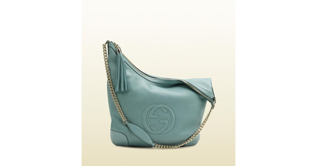 0dcaa09125a light blue gucci gucci soho light blue leather shoulder bag with chain  strap in